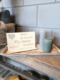 Cadeaupakket Mijn mama (speciaal) / op houten dienblad small / 3 kaarsjes