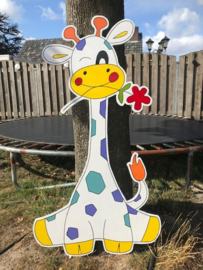 giraf met vrolijke kleuren en bloem  (geel)