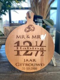 Serveerplank MR en MR  - rond maat  35 - 12 1/2 jaar getrouwd
