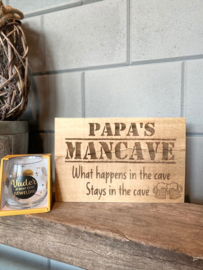 Tekstbord papa's mancave + glas vader