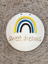 Muurcirkel Regenboog en Sweet Dreams gebrand