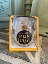 Wijn-waterglas met tekst AFBLIJVEN MIJN WJN