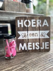 Tekstbordje Hoera een meisje + potje roze
