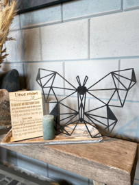 Cadeaupakket tekstbordje lieve mam / op houten dienblad small / houten geometrische vlinder / kaarsje