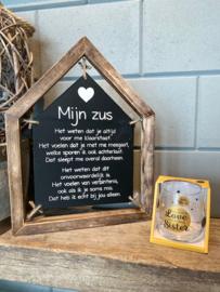 Cadeau pakket huisje tekstbord + Water-wijnglas