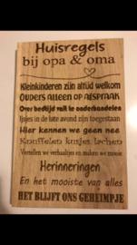 Teksbordje Huisregels bij opa & oma