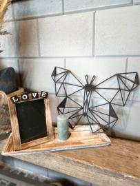 Decoratie-set houten dienblad (smal) /  fotolijstje LOVE / kaarsje / houten geometrische vlinder