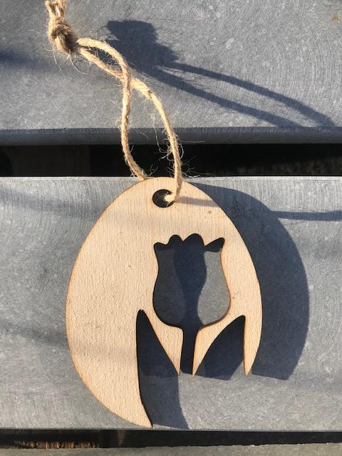 Houten hanger tulp