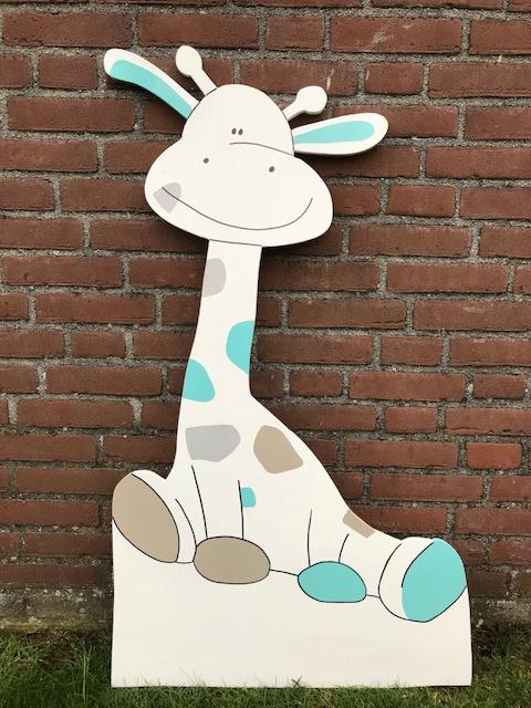 giraf bruin, grijs, mintgroen