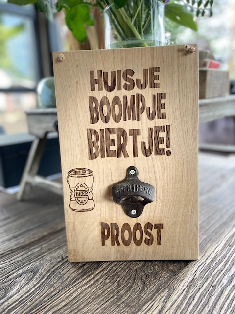 Tekstbord Huisje, boompje, biertje + bieropener