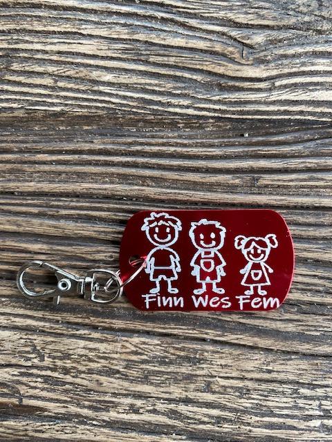 Familie sleutelhanger gepersonaliseerd met namen