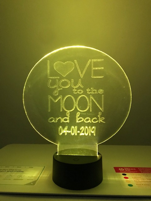 Led-bordje LOVE YOU TO THE MOON.......