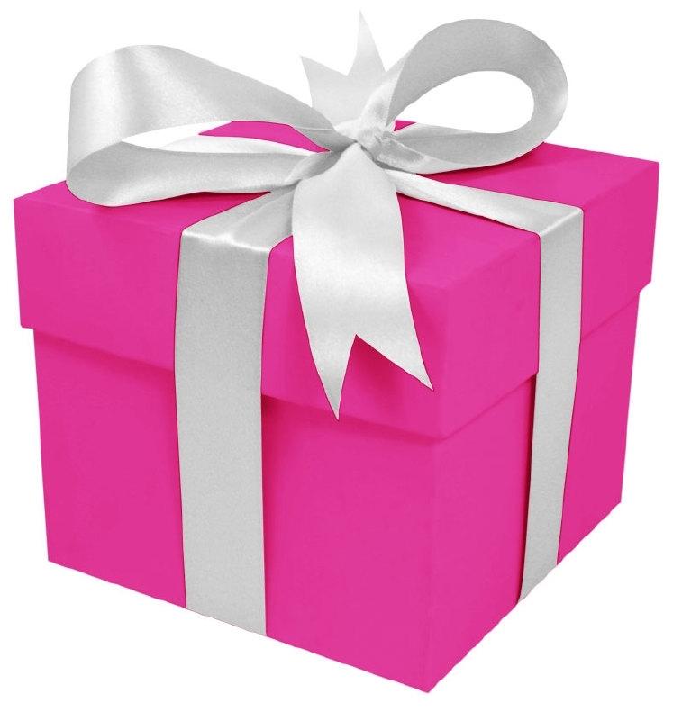 Cadeaudoos 25cm Roze met witte strik