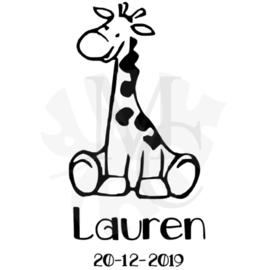 Giraf met naam/datum