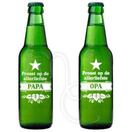 Sticker - Proost op de allerliefste papa / opa