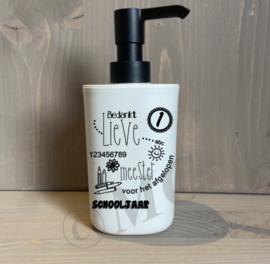 Luxe zeeppompje wit met zwarte dop - Bedankt lieve juf / meester