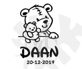 Knuffel beer met naam/datum