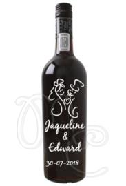 Wijnfles sticker- Getrouwd
