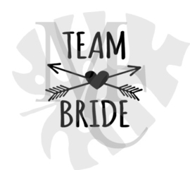 champagneglas sticker: Team Bride