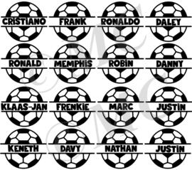 Traktatie naam stickers voetbal (set van 4)