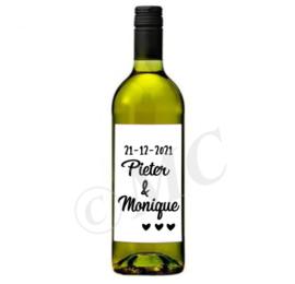 Wijnfles etiket: Huwelijk (namen met datum)