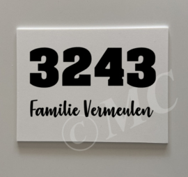 Naambordje - Huisnummer / Namen