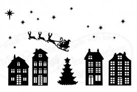 Statisch - Sint / Kerst raamsticker (uitbreiding halloween mogelijk)