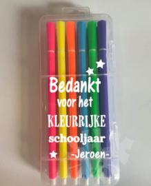 Stiften luxe  -Bedankt voor het kleurrijke schooljaar afz. sterren