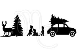 Statisch - Kindjes op slee hert en auto