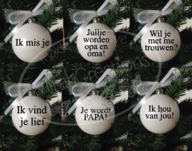 Kerstbal met eigen tekst