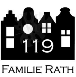 Grachtenpandjes met ramen: Huisnummer en familie naam