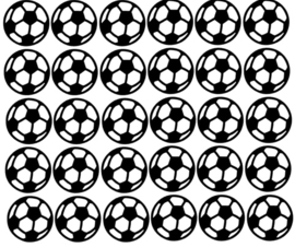 Muurdecoratiesticker: Voetballen (diverse maten)