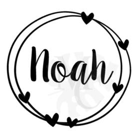 """Geboorte sticker  """"naam"""" rond met hartjes"""