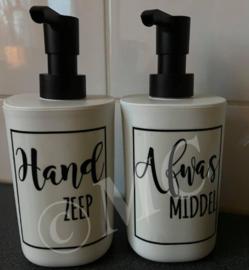 Luxe zeeppompje wit met zwarte dop -Handzeep / Afwasmiddel