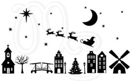 Sticker - Compleet straatje  sint kerst (met of zonder halloween)