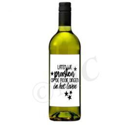 Wijnfles etiket: Laten we proosten
