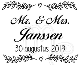 Mr. & Mrs. Naam datum (tbv. enveloppen box)