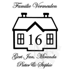 Huisje: Familie naam, namen en huisnummer