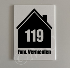 Naambordje - Huisje met schoorsteen