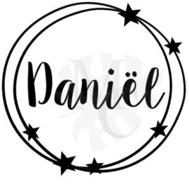 """Geboorte sticker  """"naam"""" rond met sterren"""