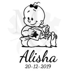 Baby met boekje (meisje)  met naam/datum