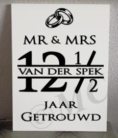 """mr & mrs """"naam"""" ... jaar getrouwd"""