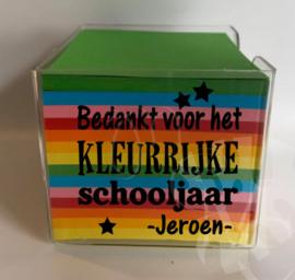 Memo blaadjes  - Bedankt voor het kleurrijke schooljaar afz. sterren