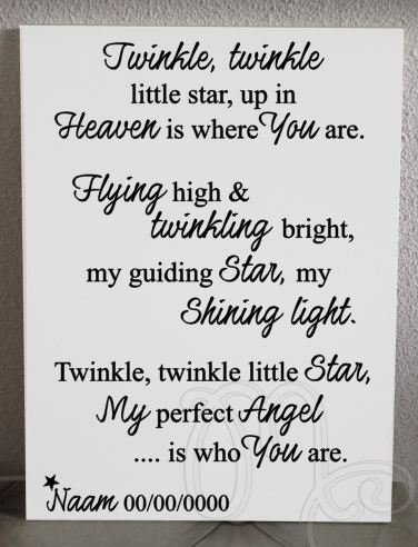 "Twinkle twinkle ""ter nagedachtenis"""