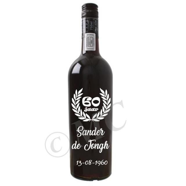 Wijnfles sticker- verjaardag