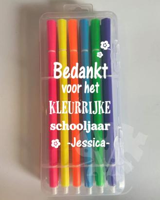 Stiften luxe  -Bedankt voor het kleurrijke schooljaar afz. bloemen