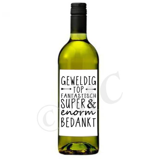 Wijnfles etiket: Enorm bedankt