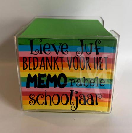 Memo blaadjes  - Lieve juf/meester bedankt voor het MEMO rabele schooljaar