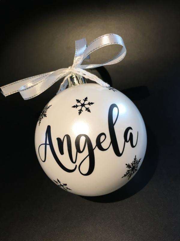 """Kerstbal """"naam """" sneeuwvlok"""