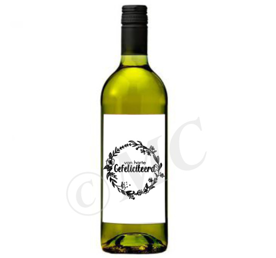 Wijnfles etiket: Van harte gefeliciteerd